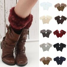 Womens Lady's Knitted Crochet Fur Trim Boot Cuffs Toppers Leg Warmers Socks New