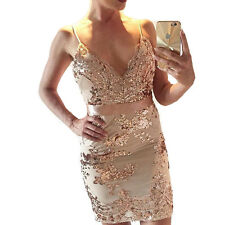 Womens Sexy Sequins Deep V-Neck Bandage Bodycon Club Cocktail Party Mini Dress