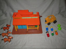 Vintage Fisher Price Western Town #934 Base Great Lithos! 5 Little People +More!