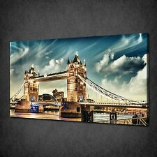 LONDON TOWER BRIDGE AT CLOUDY NIGHT CANVAS WALL ART PRINT PICTURE READY TO HANG