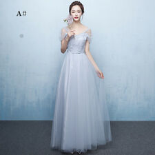 Long Gray Chiffon Lace Evening Formal Party Ball Gown Prom Bridesmaid Dress Size