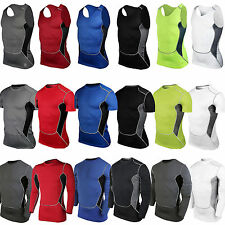 Mens Compression T-shirts Under Shirt Base Layer Armour Sports Vest Tee Tank Top