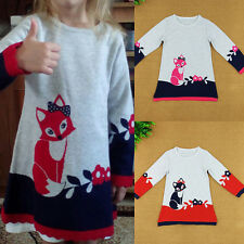 Toddler Baby Girls Kids Long Sleeve Fox Sweater Casual Lace Top Dress Size 2-6Y