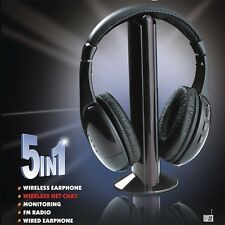 5 in 1 Wireless Stereo FM Radio Strong Signal Headphone Cordless Headset for MP3