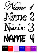 IRON ON TRANSFER / STICKER - PERSONALISED NAME FONT COLOUR LABEL - Light colour