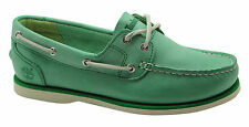Timberland Classic Unlined 2 Eye Womens Boat Shoe Green Leather A14Q5 U53