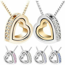 Jewelry Womens Necklace Chain Silver Plated 2016 Pendant Crystal Heart Fashion