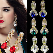 1 Pair Crystal Women Rhinestone Ear Studs Earrings Teardrop Gold Plated Dangle