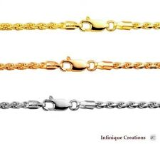 14k Gold Over 925 Sterling Silver Italian ROPE CHAIN Diamond Cut  necklace 3.0mm