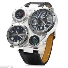 Oulm Adventure Men's Quartz Military Wrist Watch Dual Movt Compass