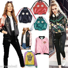 Womens Embroidery Coats Front Zipper Baseball Bomber Jackets Casual Outwear Tops