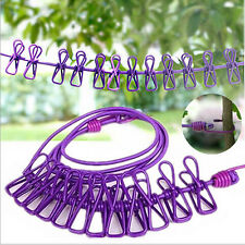 Windproof Portable Hot Clothesline Stretch Outdoor Travel Rope With 12 Clips