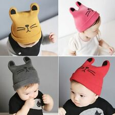Spring Winter Warm Cat Beanie Wool Knit Hat Kids Children Baby Crochet Cap