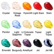 Wholesale Teardrop Czech Drop Faceted Glass Crystal Loose Spacer Bead DIY Crafts