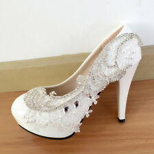 """4"""" Luxury Rhinestone White Lace Wedding Shoes Bride High Heels Pumps Party Shoes"""