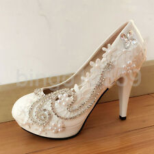 Super Bright Rhinestone White Lace Wedding Shoes Bridal High Heels Pumps Party