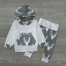 Infant Kid Baby Boy Girl Deer Hooded Long Sleeve Tops Pants Outfit Set Clothes
