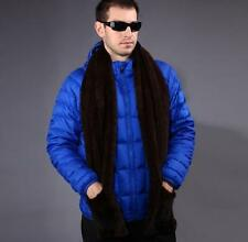 Men's Fur Scarf Real Knitted Farm Mink Fur Scarf Shawl Wrap Vintage with pocket