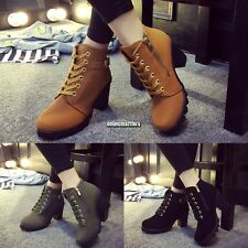 Womens Fashion High Heel Lace Up Ankle Boots Ladies Zipper Buckle Platform ONMF
