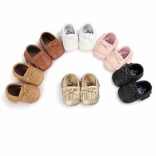 Newborn Toddler Baby Boys Girls Moccasin Tassel Leather Soft Sole Shoes 0-18M