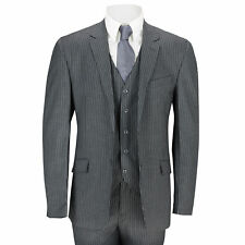 Mens 3 Piece Suit White Pinstripe on Dark Grey Tailored Fit Formal Vintage Suit