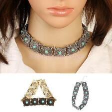 Boho Collar Choker Necklaces Vintage Ethnic Turquoise Beads Statement Jewelry