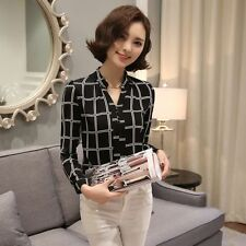 Fashion Lattice Blouse T-Shirt Long Sleeve Loose Casual Summer