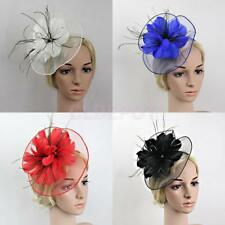 Big Flower Feather Fascinator Net Headband Party Wedding Bridal Women Church Hat