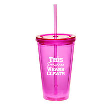 16oz Double Wall Acrylic Tumbler Cup With Straw Princess Wears Cleats Softball