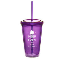16oz Double Wall Acrylic Tumbler Pool Cup With Straw Keep Calm Love Elephants