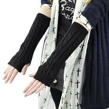 Women Ladies Stretchy Long Sleeve Fingerless Gloves Arm Black Christmas Gift