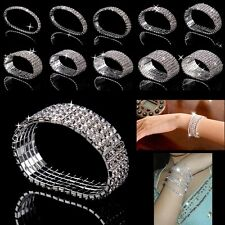 Crystal Rhinestone Stretch Bracelet Bangle Wedding Bridal Wristband Lady Gifts