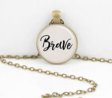 """""""Brave"""" Word Pendant Inspiration Necklace Jewelry or Key Ring"""