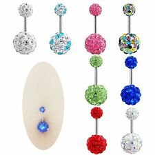 Barbell Rhinestone Crystal Ball Piercing Body Jewelry Navel Ring Belly Button