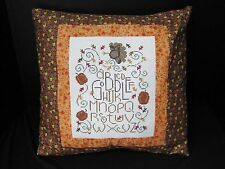 Gobble - Finished Cross Stitch ABC Thanksgiving Pillow with Leaves & Pumpkins