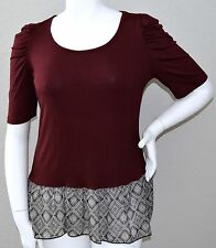 Yummy Plus Burgundy Ruched Sleeve Peplum Print Stretch Top - 1X 2X 3X - New!