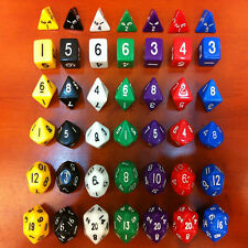 Set of 6 Sided Dice D4 D6 D8 D10 D12 D20 Magic Gathering MTG D&D RPG Poly Game