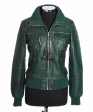 Ladies BROOKLYN Green Waxed Biker Style Real Lambskin Leather Designer Jacket