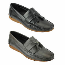 New Mens Faux Leather Tassel Kilted Loafers Casual Moccasin Shoes Black Grey