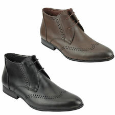 Mens Black Brown Leather Ankle Boots Work Formal Lace Shoes Size 6 7 8 9 10 11