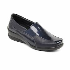 Padders SKYE Ladies Womens Leather Wide/Extra Wide Slip On Loafer Shoes Navy