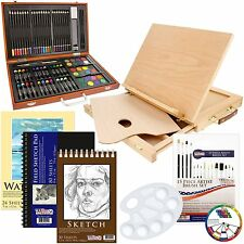 Adult Easel Wood Desk Adjustable Art Drawing Set Deluxe Supply 82 Piece Painting