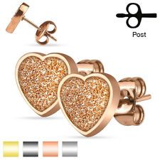 Coolbodyart Ladies Surgical steel 1 Pair Ear Studs Heart with Sand glitter