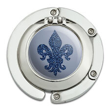 Purse Hanger Holder Hook with Mirror Glitter Fleur De Lis