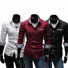 Mens Fashion Luxury Casual Dress Slim Fit T Shirt Solid Long Sleeve Blouses Tops