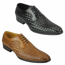 Mens Hand Woven Real Leather Vintage Basket Weave Oxford Lace up Shoes Black Tan