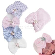 Newborn Baby Infant Girl Toddler Comfy Bowknot Hospital Cap Beanie Hat Prop
