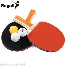 REGAIL A508 Table Tennis Ping Pong Racket Two Long Handle Paddle Bat Three Balls