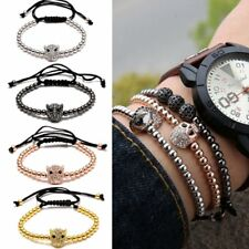 Mens Macrame Bracelet Leopard Head Fashion Handmade Women Unisex Beads Crystal