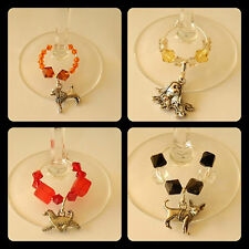 Dogs, Poodle, Chihuaha, Afghan Toy dog wine glass charms +beads